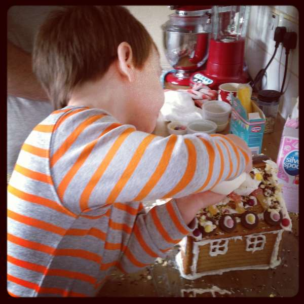 Roo decorating his gingerbread house, maybe hide some of the sprinkles!