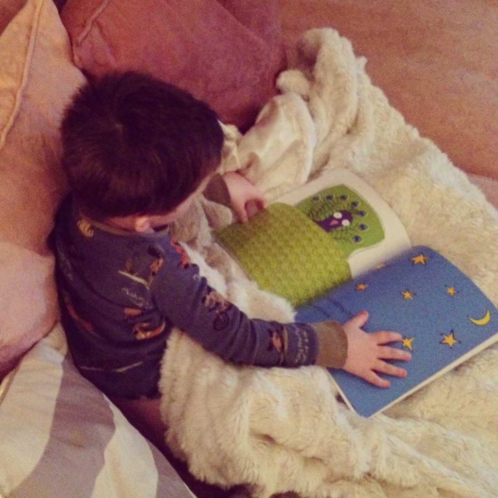 Reuben enjoying the brilliant Tuck me in boo, which I have posted about recently.