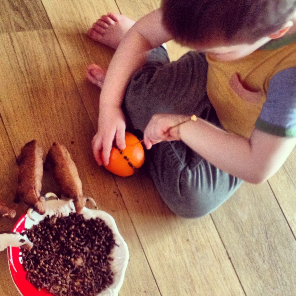 Making pomanders. Obviously the cows enjoyed helping (eating the cloves) too!