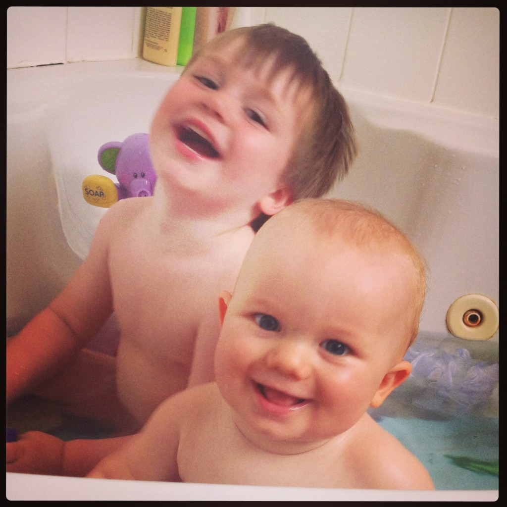 My lovely boys in their bathtub... they look like they are plotting right?