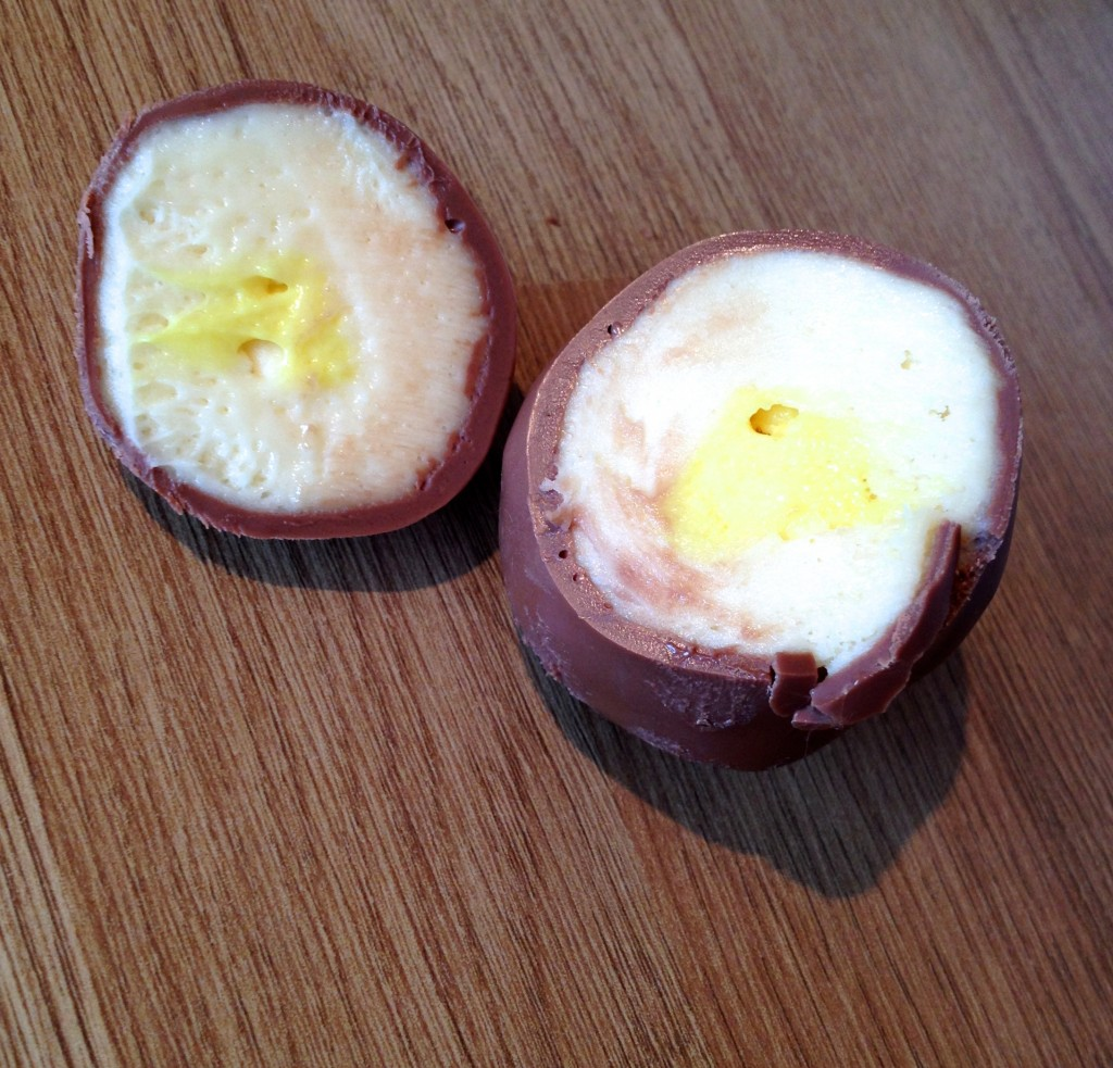 These not only look like cadbury's creme eggs, but they taste like it too! If you are going to cut the eggs to show off, heat your knife first and you won't ruin the shape of the egg!