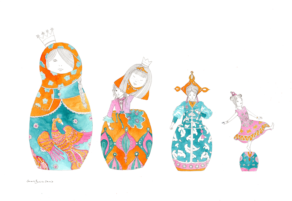 Russian Doll Princesses by children's illustrator Sarah Bellisario. I adore her use of colour and the intensity in the pieces. Interestingly children's books in France and across Europe are often quirkier and much more unusual than we have here in the UK because to get a kids book published in the UK means publishers want the books to appeal to a US (and often South Korean) audience and have potential for TV rights - means we end up with much 'safer' imagery and stories. French publishers publish simply for their own language audience and as a result can take a more risks with emerging new artistic talent.