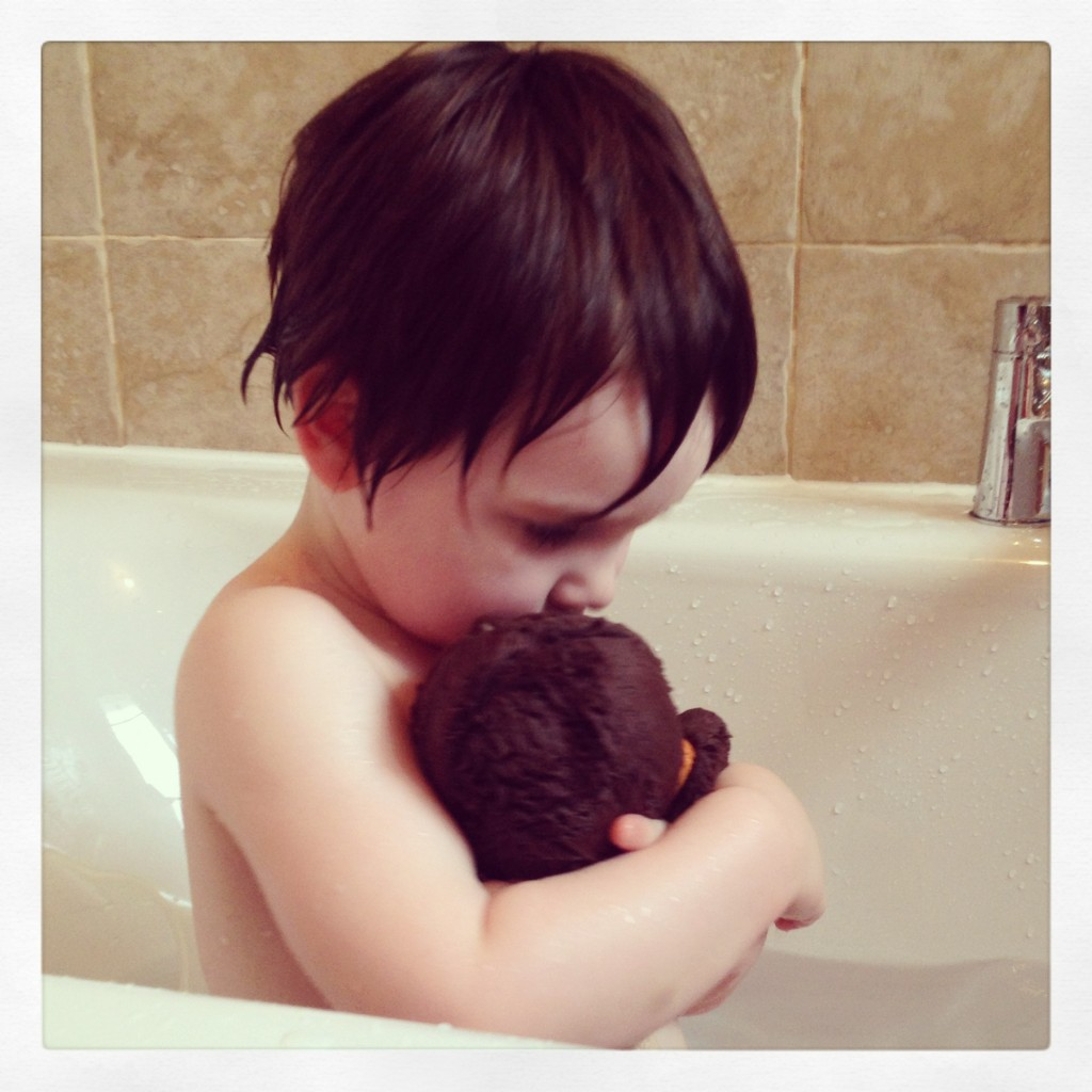 He absolutely adores having her in the bath - washes her hair - and then of course dunks her!