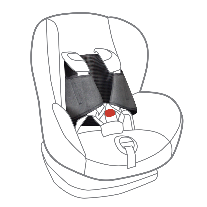Because the 5 point plus sits behind the child and has 'wings' that clip over the harness itself, covering the sides, this is totally safe in an accident and doesn't impair the clip.