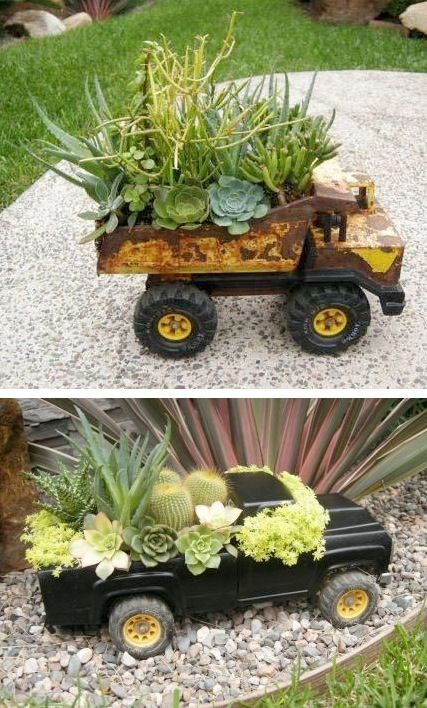 We all have those toys that drive us crazy because they are too big and such a pain in the house! Why not turn it into a plant pot!? Such a great kids garden idea! #kids #gardens #exteriordesign