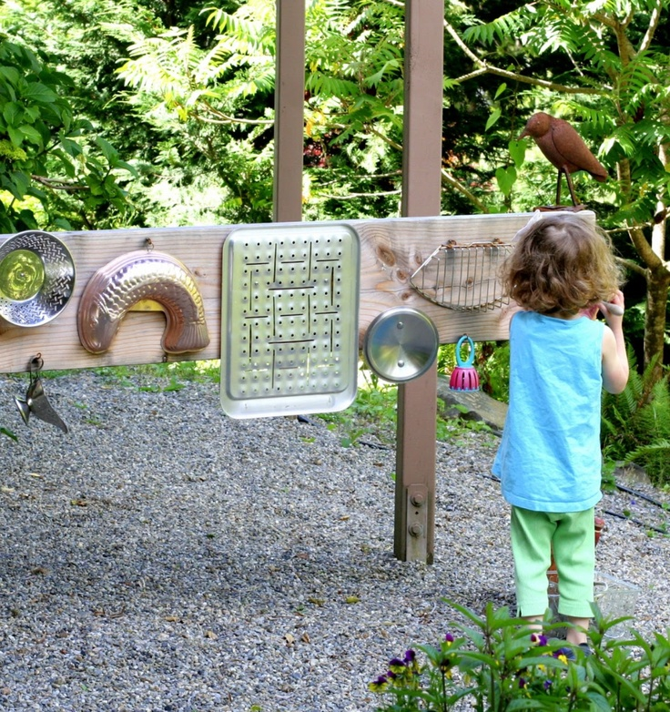 I was so excited when I found this on Fun at Home with the kids (click the image to link up) What a fantastic idea, and a great way to use your old kitchen tools! Such a great way to get kids enjoying sensory play in the garden! #kids #play #gardens #exteriorideas