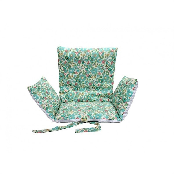 Liberty betsie green baby seat from lab - such wonderful fabric and so soft. Great ideas for home and children's decor on this site.