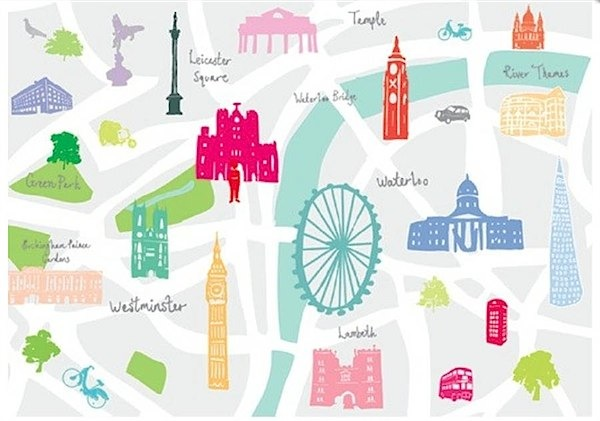Beautiful London Art Prints by Holly Francesca Toby and Roo – Map of London Landmarks