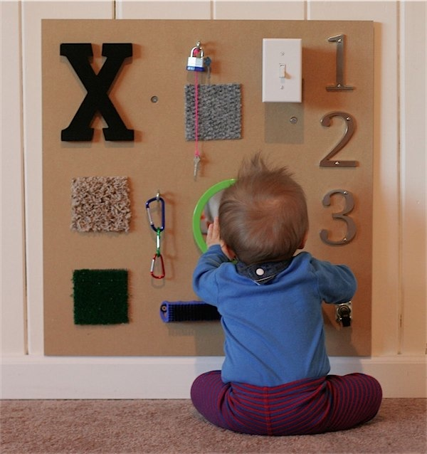 Sensory board via Toby & Roo :: daily inspiration for stylish parents and their kids.