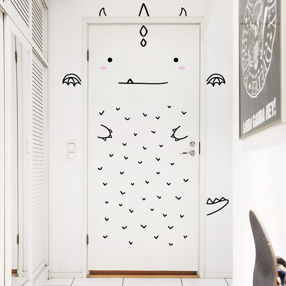 Door Wall Decals To Conquer The Monsters In Closet Toby And Roo
