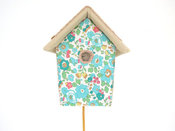 birdhouse wall lights in Liberty print from House of Clouds via Toby & Roo :: daily inspiration for stylish parents and their kids.