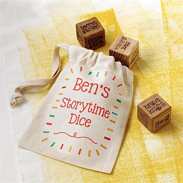Personalised wooden storytelling dice to help kids get creative! via Toby & Roo :: daily inspiration for stylish parents and their kids.