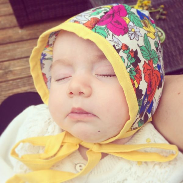 Edith's adorable baby bonnets from Stella & Wilbur :: Toby & Roo :: daily inspiration for stylish parents and their kids.