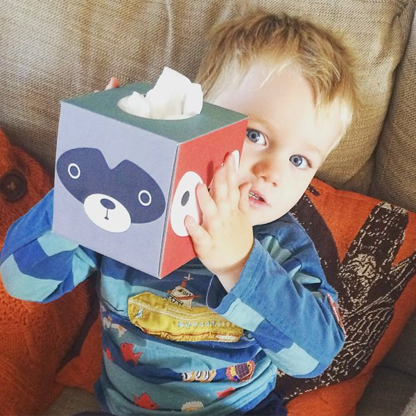 Atissu! Atissu! Snotty kids get a touch of cute fun with stylish tissue boxes. via Toby & Roo :: daily inspiration for stylish parents and their kids.