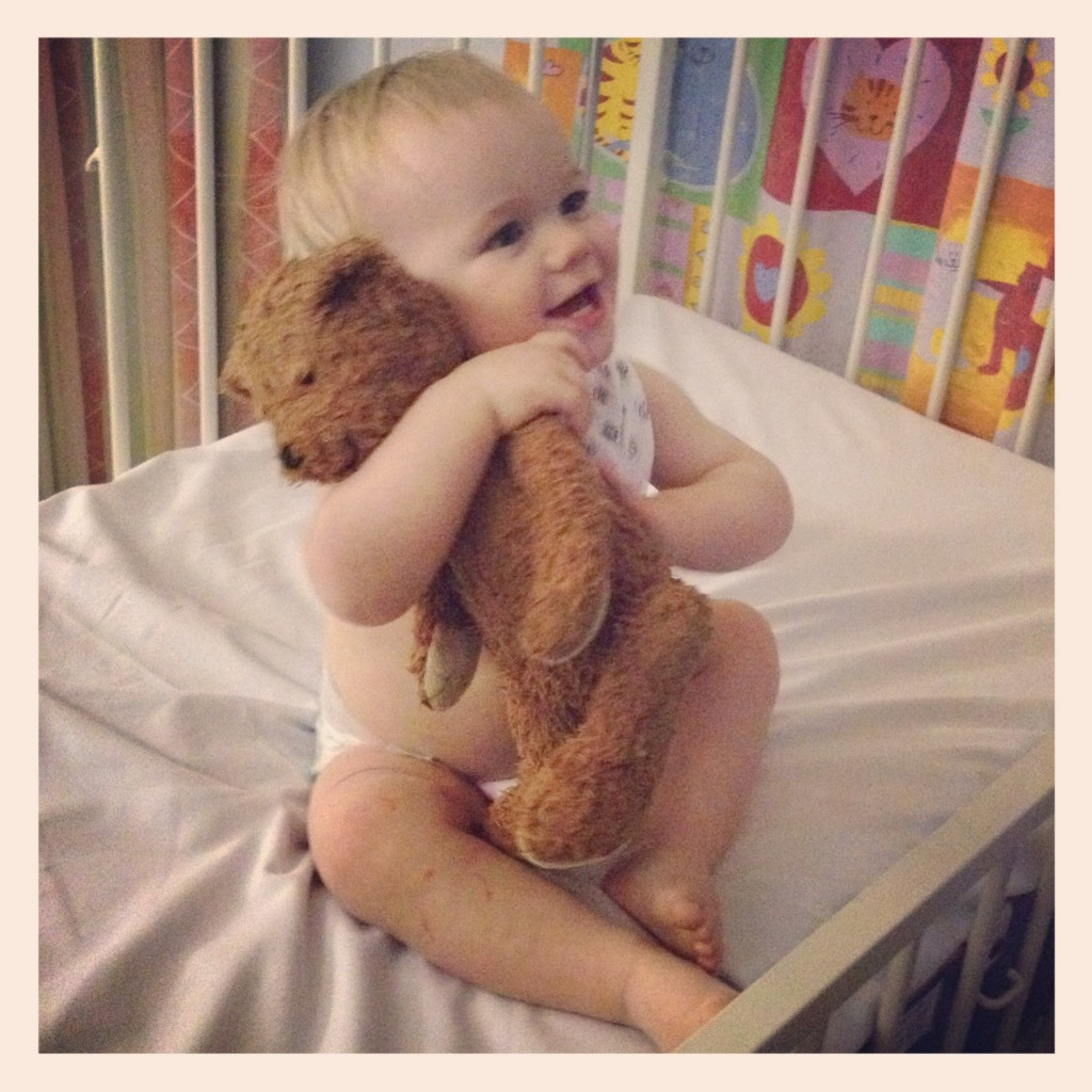 My poorly little boy, in the hospital, with his teddy.