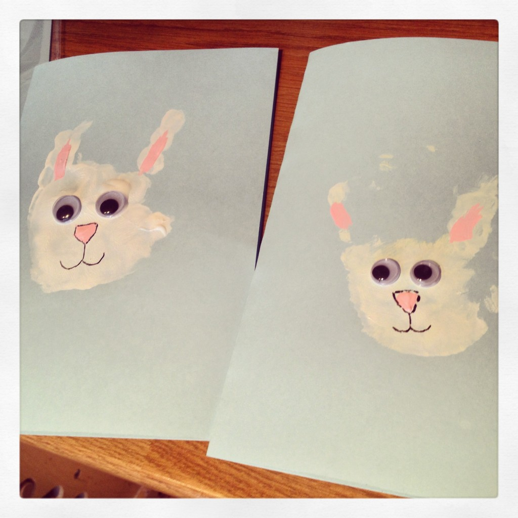 We had a great time doing these Easter bunny handprints and they make such cute easter cards or gifts!