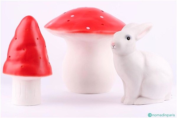 Such cute lamps, the mushrooms come in a variety of colours that will suit any room! Adorable!