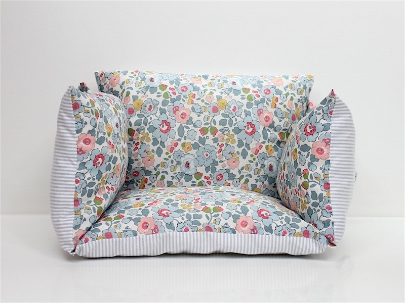 Liberty betsie baby seat from lab - such wonderful fabric and so soft. Great ideas for home and children's decor on this site.