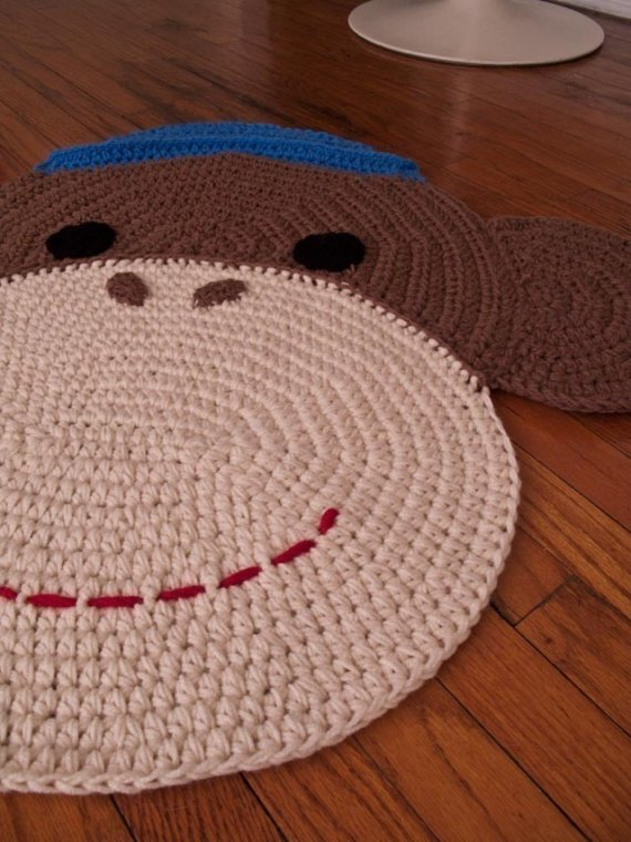 Adorable hand crocheted rugs from Peanut Butter Dynamite via Toby & Roo :: daily inspiration for stylish parents and their kids.