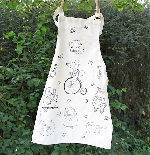 Not Before Tea doodle pot artist's aprons via Toby & Roo :: daily inspiration for stylish parents and kids.